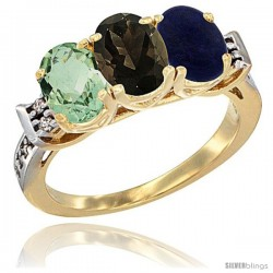 10K Yellow Gold Natural Green Amethyst, Smoky Topaz & Lapis Ring 3-Stone Oval 7x5 mm Diamond Accent