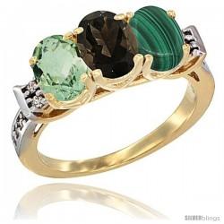 10K Yellow Gold Natural Green Amethyst, Smoky Topaz & Malachite Ring 3-Stone Oval 7x5 mm Diamond Accent