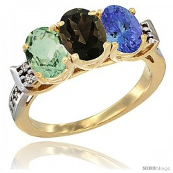 10K Yellow Gold Natural Green Amethyst, Smoky Topaz & Tanzanite Ring 3-Stone Oval 7x5 mm Diamond Accent