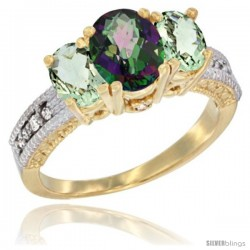 10K Yellow Gold Ladies Oval Natural Mystic Topaz 3-Stone Ring with Green Amethyst Sides Diamond Accent