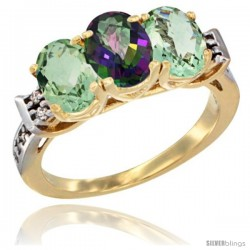 10K Yellow Gold Natural Mystic Topaz & Green Amethyst Sides Ring 3-Stone Oval 7x5 mm Diamond Accent