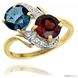 14k Gold ( 7 mm ) Double Stone Engagement London Blue Topaz & Garnet Ring w/ 0.05 Carat Brilliant Cut Diamonds & 2.34 Carats