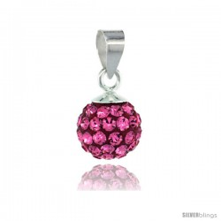 Sterling Silver Pink Tourmaline Crystal Ball Pendants 8mm