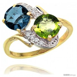 14k Gold ( 7 mm ) Double Stone Engagement London Blue Topaz & Peridot Ring w/ 0.05 Carat Brilliant Cut Diamonds & 2.34 Carats