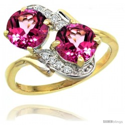 14k Gold ( 7 mm ) Double Stone Engagement Pink Topaz Ring w/ 0.05 Carat Brilliant Cut Diamonds & 2.34 Carats Round Stones, 3/4