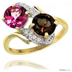 14k Gold ( 7 mm ) Double Stone Engagement Pink & Smoky Topaz Ring w/ 0.05 Carat Brilliant Cut Diamonds & 2.34 Carats Round