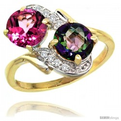 14k Gold ( 7 mm ) Double Stone Engagement Pink & Mystic Topaz Ring w/ 0.05 Carat Brilliant Cut Diamonds & 2.34 Carats Round