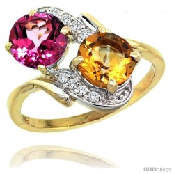 14k Gold ( 7 mm ) Double Stone Engagement Pink Topaz & Citrine Ring w/ 0.05 Carat Brilliant Cut Diamonds & 2.34 Carats Round