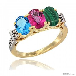 10K Yellow Gold Natural Swiss Blue Topaz, Pink Topaz & Malachite Ring 3-Stone Oval 7x5 mm Diamond Accent