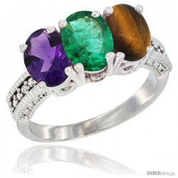 14K White Gold Natural Amethyst, Emerald & Tiger Eye Ring 3-Stone 7x5 mm Oval Diamond Accent