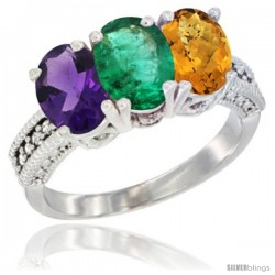 14K White Gold Natural Amethyst, Emerald & Whisky Quartz Ring 3-Stone 7x5 mm Oval Diamond Accent