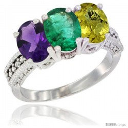 14K White Gold Natural Amethyst, Emerald & Lemon Quartz Ring 3-Stone 7x5 mm Oval Diamond Accent