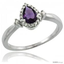 14k White Gold Diamond Amethyst Ring 0.33 ct Tear Drop 6x4 Stone 3/8 in wide