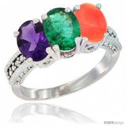 14K White Gold Natural Amethyst, Emerald & Coral Ring 3-Stone 7x5 mm Oval Diamond Accent