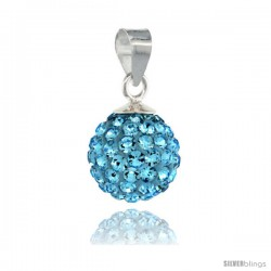 Sterling Silver Aquamarine Crystal Ball Pendants 10mm