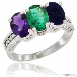 14K White Gold Natural Amethyst, Emerald & Lapis Ring 3-Stone 7x5 mm Oval Diamond Accent