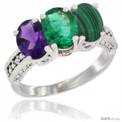 14K White Gold Natural Amethyst, Emerald & Malachite Ring 3-Stone 7x5 mm Oval Diamond Accent