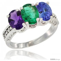 14K White Gold Natural Amethyst, Emerald & Tanzanite Ring 3-Stone 7x5 mm Oval Diamond Accent