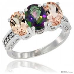 10K White Gold Natural Mystic Topaz & Morganite Sides Ring 3-Stone Oval 7x5 mm Diamond Accent