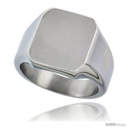 Surgical Steel Octagon Signet Ring Solid Back Flawless Finish 9/16 in