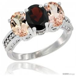10K White Gold Natural Garnet & Morganite Sides Ring 3-Stone Oval 7x5 mm Diamond Accent
