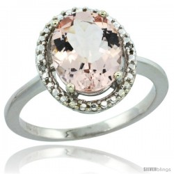 10k White Gold Diamond Halo Morganite Ring 2.5 carat Oval shape 10X8 mm, 1/2 in (12.5mm) wide