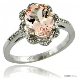 10k White Gold Diamond Halo Morganite Ring 1.7 Carat Oval Shape 9X7 mm, 7/16 in (11mm) wide