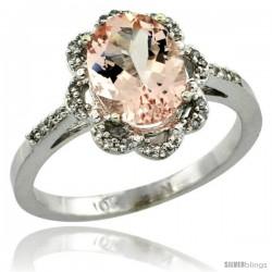 10k White Gold Diamond Halo Morganite Ring 1.7 Carat Oval Shape 9X7 mm, 7/16 in (11mm) wide