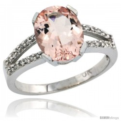 10k White Gold and Diamond Halo Morganite Ring 2.4 carat Oval shape 10X8 mm, 3/8 in (10mm) wide