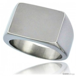 Surgical Steel Rectangular Signet Ring Solid Back Flawless Finish 1/2 in