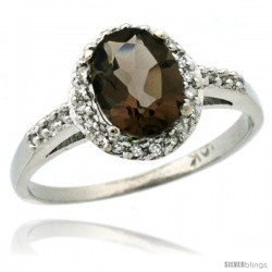 10k White Gold Diamond Smoky Topaz Ring Oval Stone 8x6 mm 1.17 ct 3/8 in wide