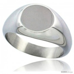 Surgical Steel Small Signet Ring Solid Back Flawless Finish 3/8 in round