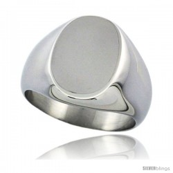 Surgical Steel Oval Signet Ring Solid Back Flawless Finish 5/8 in -Style Rss4009