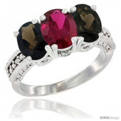 10K White Gold Natural Ruby & Smoky Topaz Sides Ring 3-Stone Oval 7x5 mm Diamond Accent