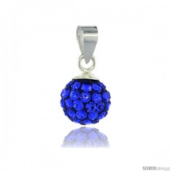 Sterling Silver Sapphire Crystal Ball Pendants 8mm