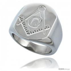 Surgical Steel Masonic Symbol Ring Square and Compass 3/4 in
