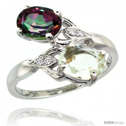 14k White Gold ( 8x6 mm ) Double Stone Engagement Green Amethyst & Mystic Topaz Ring w/ 0.04 Carat Brilliant Cut Diamonds