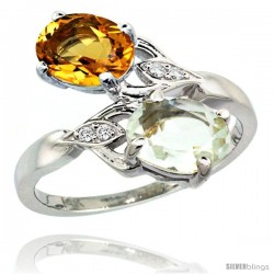 14k White Gold ( 8x6 mm ) Double Stone Engagement Green Amethyst & Citrine Ring w/ 0.04 Carat Brilliant Cut Diamonds & 2.34