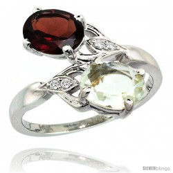 14k White Gold ( 8x6 mm ) Double Stone Engagement Green Amethyst & Garnet Ring w/ 0.04 Carat Brilliant Cut Diamonds & 2.34