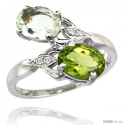 14k White Gold ( 8x6 mm ) Double Stone Engagement Green Amethyst & Peridot Ring w/ 0.04 Carat Brilliant Cut Diamonds & 2.34
