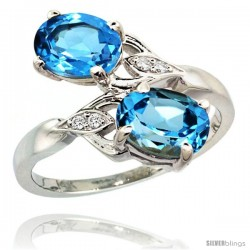 14k White Gold ( 8x6 mm ) Double Stone Engagement Swiss Blue Topaz Ring w/ 0.04 Carat Brilliant Cut Diamonds & 2.34 Carats Oval