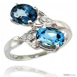 14k White Gold ( 8x6 mm ) Double Stone Engagement Swiss & London Blue Topaz Ring w/ 0.04 Carat Brilliant Cut Diamonds & 2.34