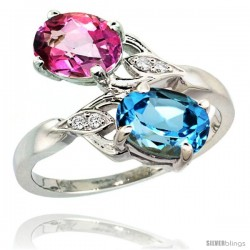 14k White Gold ( 8x6 mm ) Double Stone Engagement Swiss Blue & Pink Topaz Ring w/ 0.04 Carat Brilliant Cut Diamonds & 2.34