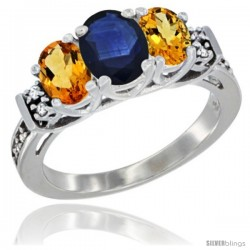 14K White Gold Natural Blue Sapphire & Citrine Ring 3-Stone Oval with Diamond Accent
