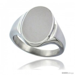 Surgical Steel Oval Signet Ring Solid Back Flawless Finish 5/8 in -Style Rss4010