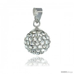 Sterling Silver White Crystal Ball Pendants 10mm