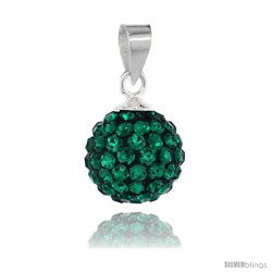 Sterling Silver Emerald Crystal Ball Pendants 10mm