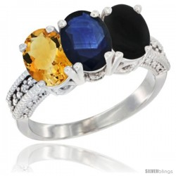 14K White Gold Natural Citrine, Blue Sapphire & Black Onyx Ring 3-Stone 7x5 mm Oval Diamond Accent