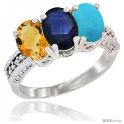 14K White Gold Natural Citrine, Blue Sapphire & Turquoise Ring 3-Stone 7x5 mm Oval Diamond Accent