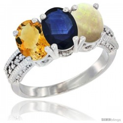 14K White Gold Natural Citrine, Blue Sapphire & Opal Ring 3-Stone 7x5 mm Oval Diamond Accent